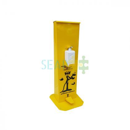 Dispenser de gel sau dezinfectant cu pedala, pentru scoala, otel vopsit, galben, 1L