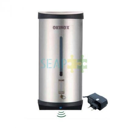 Dispenser sapun si dezinfectant cu senzor Oțel inoxidabil. Funcționează atât cu bateria cât și cu adaptorul, 10.5x12x270 cm, Volum de 800 ml
