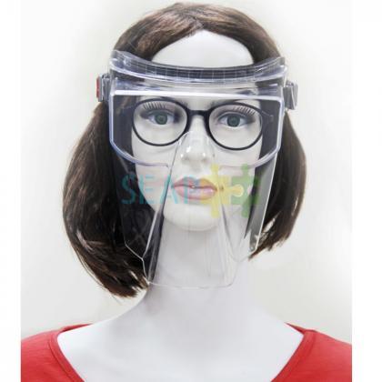 Masca sau Viziera transparenta compatibila pentru ochelari, pentru protectia fetei COVIDUR, Antifog, 185×240 mm, Negru
